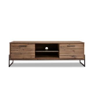 Mallorca TV-bord, m. 2 låger og 1 hylde - brun akacietræ (152x45)