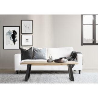 ROWICO Melville rektangulært sofabord - hvidpigmenteret vildeg træ og sorte metalben (140x65)