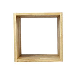 NOCNOI Puzzle kvadratisk reol, m. 1 rum - massiv olieret eg, til væg/gulv (36x36)