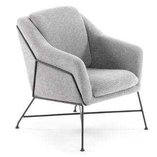 LAFORMA Brida lænestol, m. armlæn - lysegrå stof og sort stål