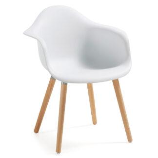 LAFORMA Kenna lænestol - hvid plastik og natur bøg