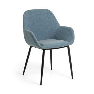 LAFORMA Konna lænestol, m. armlæn - blå stof og sort stål