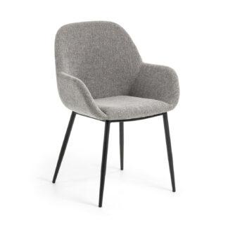 LAFORMA Konna lænestol, m. armlæn - grå stof og sort stål