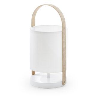 LAFORMA rund Zayla bordlampe - hvid bomuld og stål, natur bøg