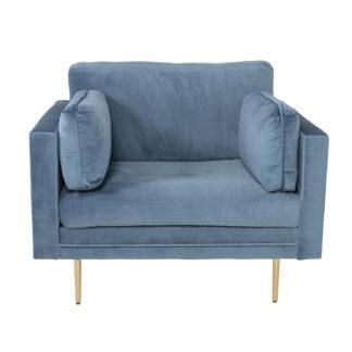 VENTURE DESIGN Boom lænestol, m. armlæn - blå polyester og metal