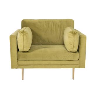VENTURE DESIGN Boom lænestol, m. armlæn - grøn polyester og metal