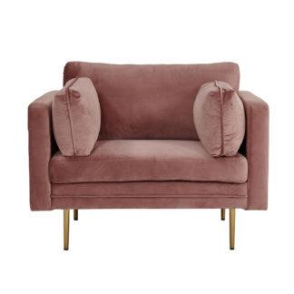 VENTURE DESIGN Boom lænestol, m. armlæn - rosa polyester og metal