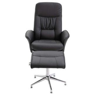 VENTURE DESIGN Rolf recliner lænestol, m. fodskammel - sort PU og krom metal