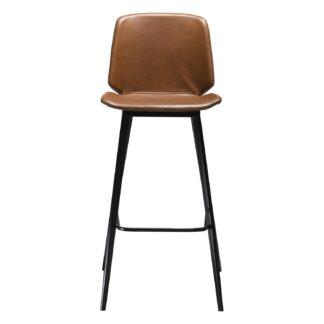 DAN-FORM Swing barstol, m. ryglæn og fodstøtte - vintage lysebrun kunstlæder og sort stål