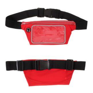 Bæltetaske med lomme til iPhone/smartphone op til 160mm - Touch skærm - Vandtæt - Rød