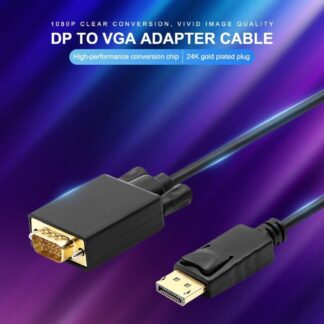 DisplayPort (han) til VGA (han) adapter - Guldplaterede connectors - 1.8m