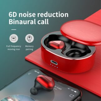 Dynamic 6D - Trådløse Bluetooth Ear-Buds med Touch Funktion & Opladerbox - Rød