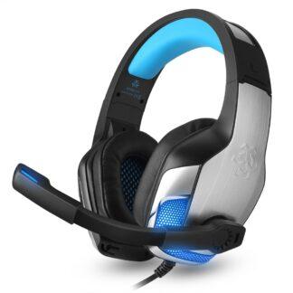 HUNTER SPIDER - V4 Gamer Høretelefoner m/mikrofon & LED lys - Blå