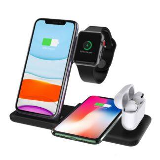 Q20 - 4-i-1 Design Trådløs HURTIG oplader til Smartphone/Apple Watch/Airpods - Sort