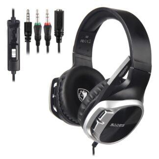 SADES R17 - GAMING Over-Ear Høretelefoner - 50mm DRIVER - 3.5mm kabel - 1.5m - Sølv