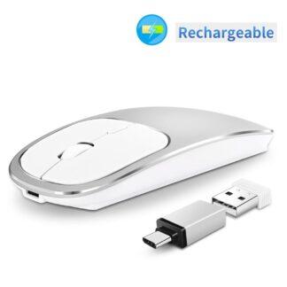 SILENT - Trådløs optisk mus - 2.4G - med USB modtager - Sølv