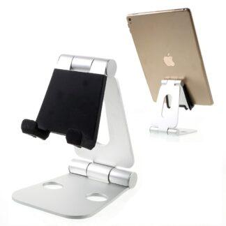 Universal aluminium desktop holder til smartphone/tablet - Sølv
