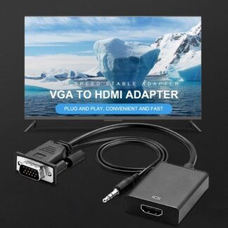 VGA til HDMI adapter kabel med 3.5mm audio kabel - Til TV/laptop/pc mm