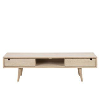 ACT NORDIC Century TV-bord, m. 2 låger - hvidpigmenteret egetræsfiner og eg (160x38)