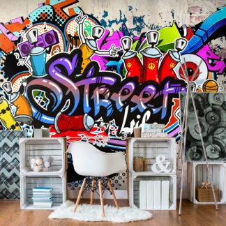 ARTGEIST Fototapet - Street Game, farverig grafitti (flere størrelser) 400x280