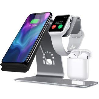BESTAND 3-i-1 Trådløs Qi oplader til smartphone/Apple Watch/Apple Airpods