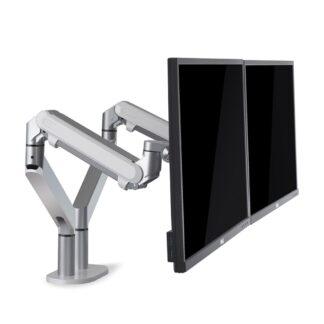 "WERGON - Alma - Justerbar Dual monitorarm med Gasfjederarme - Monitor skærme Max 27"" - Sølv"