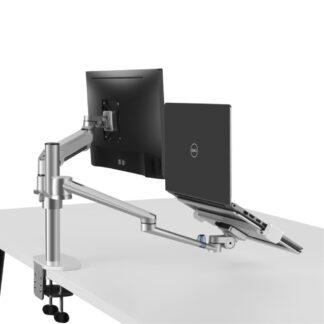 """WERGON - Luna - Dual holder m/Gasfjeder til En laptop 11-17"""" + En monitor/LCD Skærm max 27"""" - Sølv"""