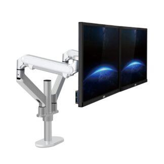 """WERGON - Move - Justerbar Dual Desktop holder til to Skærme med Gasfjederarme - Monitor skærme Max 27"""" - Sølv"""