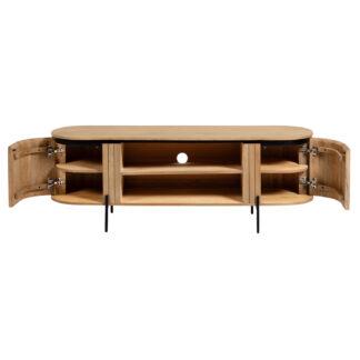 LAFORMA Licia TV-bord, m. 2 låger og 2 åbne rum - natur mangotræ og sort metal (160x43)