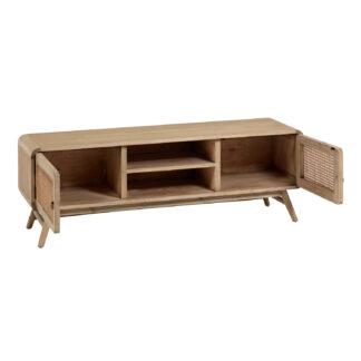 LAFORMA Nalu TV-bord, m. 2 rum og 2 låger - natur mindi træ og rattan (150x40)