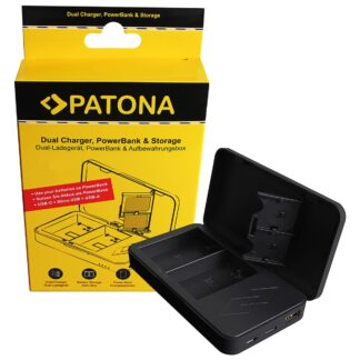 PATONA Dual charger with Powerbank function and memory card storage for Canon LP-E6