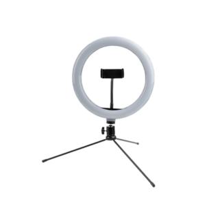 Dæmpbar mini LED Ring Ø26cm med holder til iPhone/smartphone - 3 justerbare farver - Inkl. Tripod H: 35cm