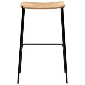 Dan-Form Stiletto barstol, m. fodstøtte - natur papirsnor og sort metal