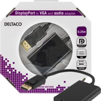 DisplayPort til VGA-adapter med lyd - Fuld HD / 60Hz - 0.25m - 5 års Garanti