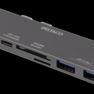 Dual USB-C dock/Hub til MacBook Pro med Touchbar - Thunderbolt 3 - 100W USB - 2x USB-A - 1 4K HDMI - Sort