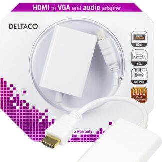 HDMI til VGA adapter - med 3.5mm lydudgang - 0.20m - Hvid - Livstidsgaranti