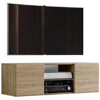 Jusa 115 TV-vægskab, m. 2 låger og 1 hylde - glas og natur træ
