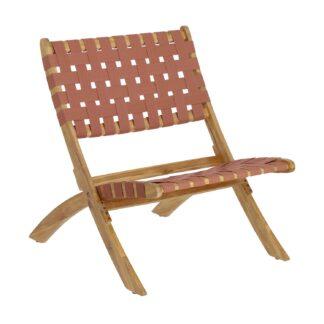 LAFORMA Chabeli acacia wood folding chair with terracotta cord