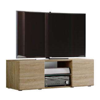 Lowina 115 TV-bord, m. 2 låger og 1 hylde - glas og natur træ