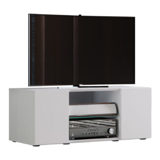Lowina 95 TV-bord, m. 2 låger og 1 hylde - glas og hvid træ