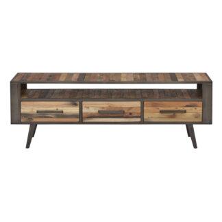 NOVASOLO TV-bord, m. 1 hylde og 3 skuffer - brun genbrugstræ og jern