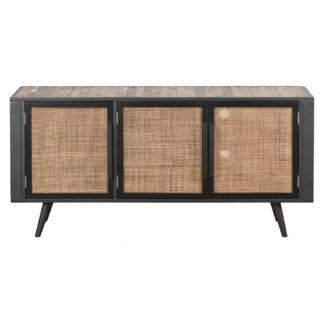 NOVASOLO TV-bord, m. 3 låger - brun rattan og genbrugstræ, jern