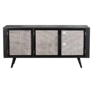 NOVASOLO TV-bord, m. 3 låger - rattan, sort træ og jern