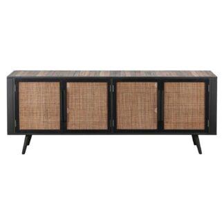 NOVASOLO TV-bord, m. 4 låger - brun rattan og genbrugstræ, jern
