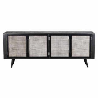 NOVASOLO TV-bord, m. 4 låger - rattan, sort træ og jern