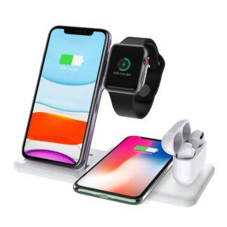 Q20 - 4-i-1 Design Trådløs HURTIG oplader til Smartphone/Apple Watch/Airpods - Hvid