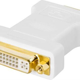 Adapterstik DVI-I hun / VGA han - guldbelagt - Hvid