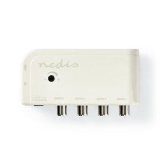 Antenneforstærker - 10 dB - Coax hun/han - 4 udgange - Hvid