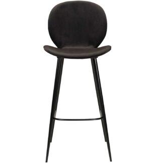 DAN-FORM Cloud barstol, m. ryglæn og fodstøtte - sort velour og sort stål-UDGÅET