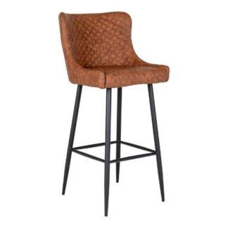 HOUSE NORDIC Dallas barstol - brun PU og sort stål